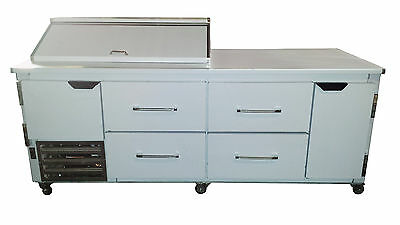 """Cooltech 1-1/2 Door & 4 Drawers Refrigerated Sandwich Prep Unit 84"""""""
