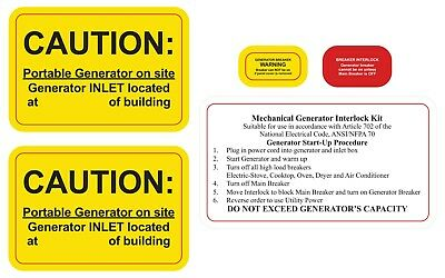 Generator interlock and or Transfer Switch Caution Labels NEC Article 702.7