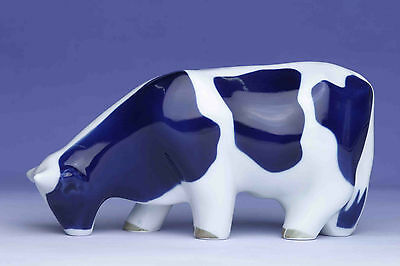 Sargadelos Porcelain Blue Cow Eating- NEW