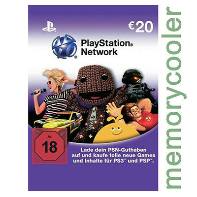Playstation Network Card Key PSN 20€  20 EUR EURO Prepaid Card - PS4 PS3 PSP -DE