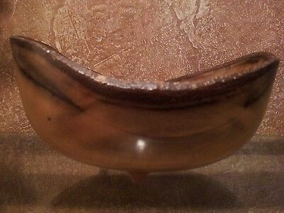 Delicately Hand Carved Spected Magnolia Wooden Wood Bowl Signed Dale Brobst 2000