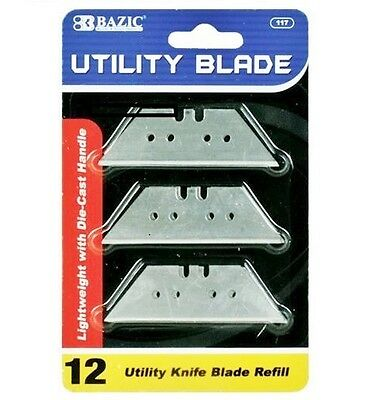 Bazic Utility Knife Replacement Blades Razor Sharp 12 Pack Easy Refill New