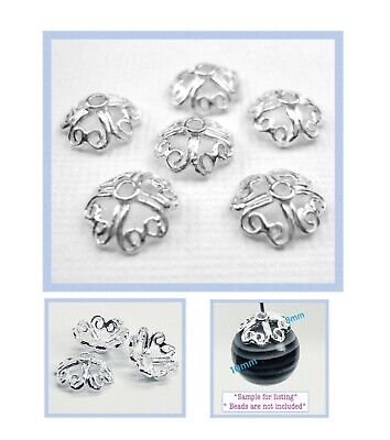 925 Sterling Silver 8mm Large Bright 4 Heart Bead Cap Findings 10pcs #5405-3