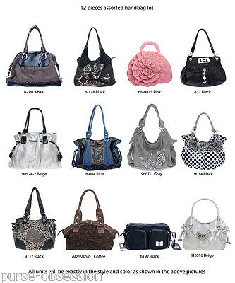 Wholesale Lot of 12 Designer Multi-Color Inspired Fashion Handbags Bags - Set M