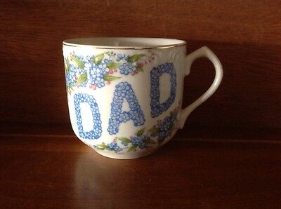 Lefton China DAD Coffee Mug Cup Hand Painted Gold Rim Accent