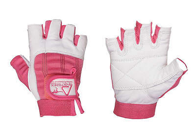 """Women's Ladies Weight lifting Pink & White Leather Gloves Weight lifting """" XS-XL"""