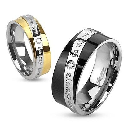 """Stainless Steel """"You Are Always In My Heart"""" Diagonal Engraved Two Toned Ring"""