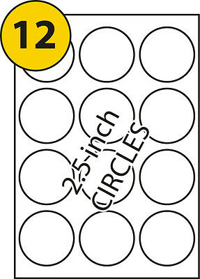 10 Sheets A4 Printer Round Sticky Labels 12 per sheet. 63.5mm Diameter Circles