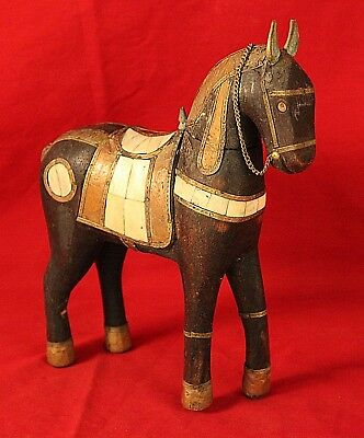Antique Folk Art Wooden Horse-Brass, Copper Adornments