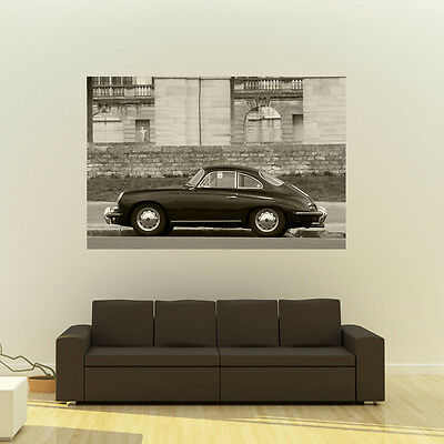 Poster of Porsche 356 C 356C Giant  B&W HD Huge 54x36 Inch Print 137x91 cm