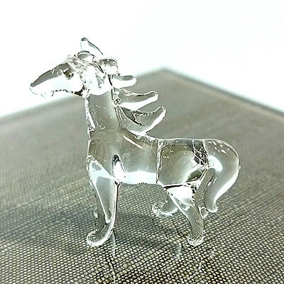 Tiny Crystal Horse Hand Blown Clear Glass Art Figurine Wild Animal Collection#2