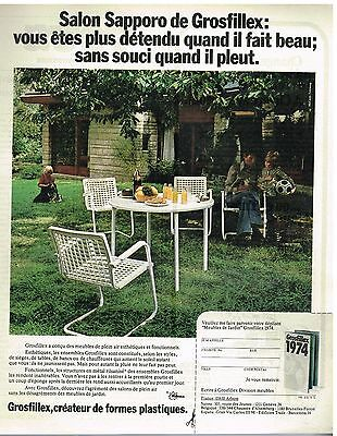 PUBLICITÉ ADVERTISING 1974 Le Mobilier de Jardin Grosfillex ...
