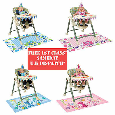 BOY / GIRL 1st FIRST Birthday Party BLUE / PINK Baby High chair Decoration Kit