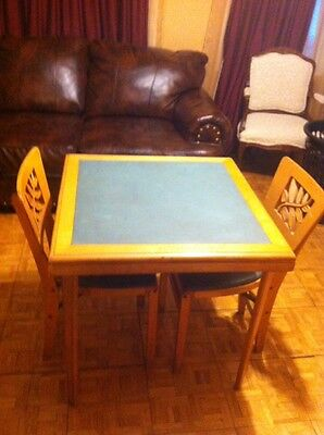 Vintage Stakmore Folding  Table With Two Chairs Wood / Vynil