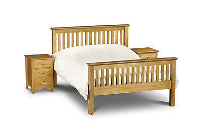 Solid Pine Wooden Shaker Style Bed 3Ft 4Ft6 5Ft Double Bolted Slatted Headboard