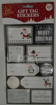 100 Gift Tag Stickers Silver Merry Christmas