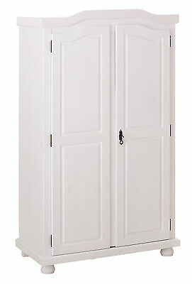 Armoire rangement penderie 2 portes pin massif blanc HEDDA