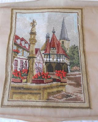 Vintage 1/5 Worked Trammed Tapestry Canvas European Village Square No Wools