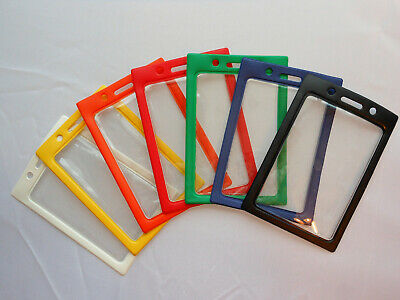 2 ID Badge Holder Vinyl Case Clear with Color Border and Lanyard Holes, Vertical
