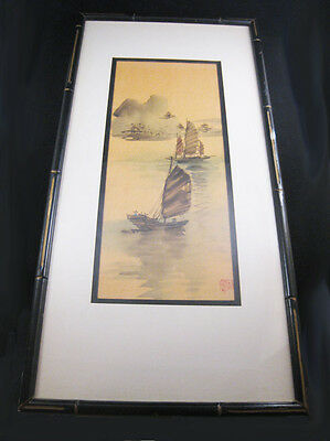 """Japanese Ink Watercolor Painting Sanpan Boat Scene Signed 9""""X18"""" Framed"""