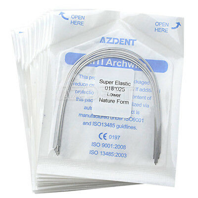 200 x AZDENT Dental Ortho Super Elastic Niti Arch Wire 18*25 Lower Natural Form