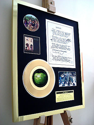 Beatles Something Gold Disc Record Vinyl Original Hand Written Lyrics Display