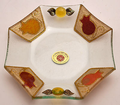 Large Deep dish Shabbat Kiddush Plate In Hand Made Painting & Design.