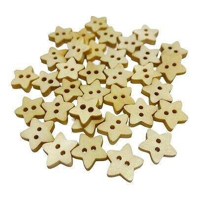 100 13mm WOODEN STAR BUTTONS - NATURAL - CRAFT - SCRAPBOOK - SEWING - CARDMAKING