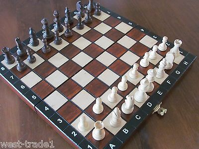Brand New♞ Hand Crafted  Wooden Chess, Backgammon and Draughts set 27cm x27cm♖