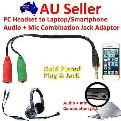 PC Headset to PC Laptop/Smartphone Audio+Mic Combination Jack Adapter/Splitter