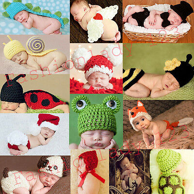 Hot Baby Infant Newborn Animal Knit Costume Photography Prop Crochet Hat Outfits