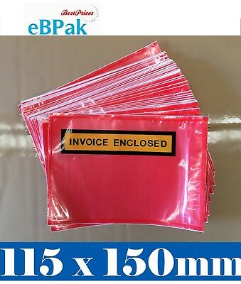 6000x RED Clear Invoice Enclosed - 115 X165MM - Document Envelope Sticker Pouch