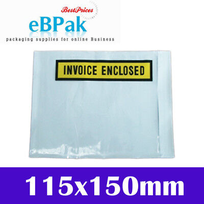 6000x White Clear Invoice Enclosed - 115 X150MM Document Envelope Sticker Pouch