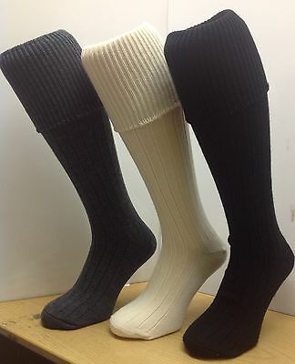 Quality Kilt Hose Socks Rib Turn over Top Men's Wool rich Knee High all sizes.