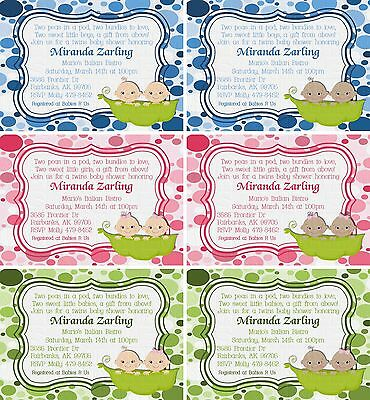 *Print Your Own* Two Peas In a Pod Twins Baby Shower Invitation *Choose Babies*