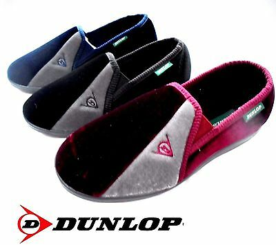 New Mens Dunlop Slippers Velour Twin Gusset 6.7.8.9.10.11.12  House Shoe Boys