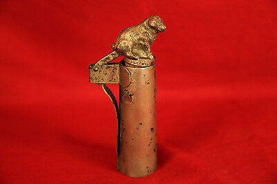 Rare Antique Pewter Bottle Liquor Neck & Bottle Stopper with St. Bernard Finial