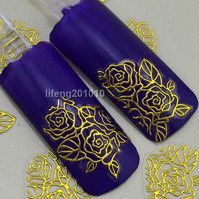 High Quality 3D Nail Art Stickers Decals Decorations Hot stamping Gold Flowers N
