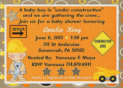 *Print Your Own* Under Construction Boy Baby Shower Invitation