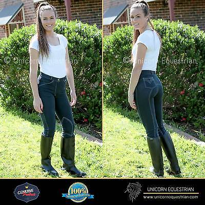 Jodhpurs Breeches Ladies Denim Look Riding Jeans Self Seat n Knee  Sizes 8 to 20
