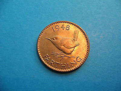Choice Red Lustre B-Unc 1948 King George Vi Bronze Farthing - Free Uk Post