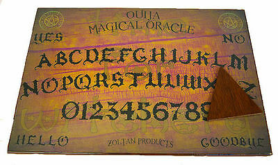 "WOODEN 16""x11"" ""TIME FOR WITCHERY"" OUIJA SPIRIT BOARD & PLANCHETT GHOST MAGIC"