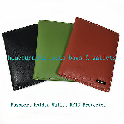Franco Bonini Genuine Leather RFID Protected Passport Holder Wallet Cover case