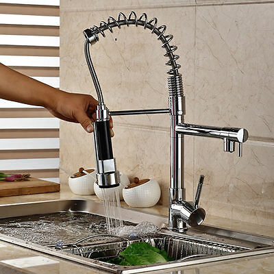 Contemporary Chrome Pull Out Kitchen Basin Brass Sink Mixer Tap Faucet cf14