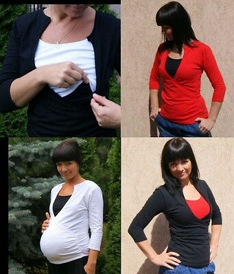 Black Pregnancy Nursing Long Sleeve Classic Elegant Jersey Top Breastfeeding