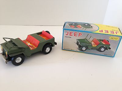 Vintage Tin Litho Army Jeep Friction toy - China - Mint in Box 1980's