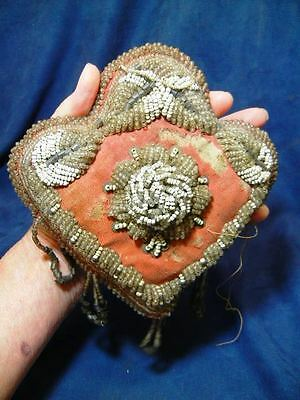 Antique Beaded Victorian Pin Cushion Possibly Indian ?