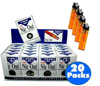 NIC-OUT Super Cigarette Filters Less Tar 20 Packs (600 Filters) ~4 Free Lighters