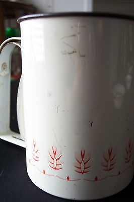 Vintage Squeeze Handel White w/ Red Flowers Androck Flour Sifter  FREE SHIPPING