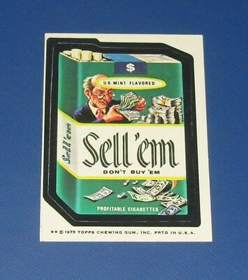 75 WACKY PACKAGES SERIES 14 TAN BACK SELL'EM CIGARETTES   EX+